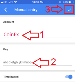 Google Authenticator-Manual entry