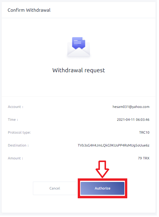 confirm withdrawal